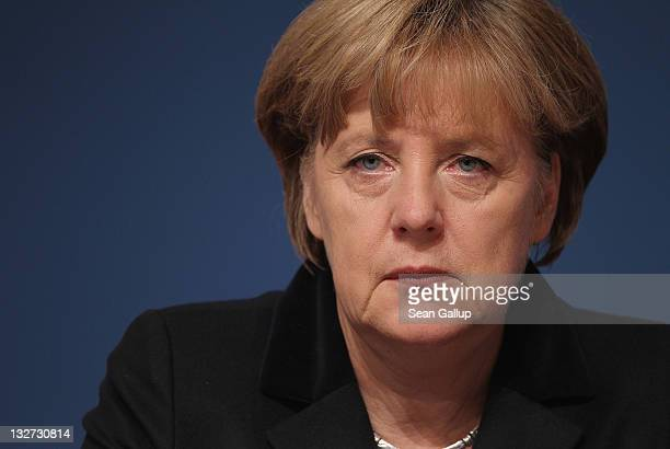 German Chancellor Angela Merkel Chairwoman of the German Christian Democrats attends the 24th CDU Party Congress on November 14 2011 in Leipzig...