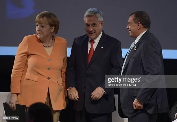 German Chancellor Angela Merkel Chilean President Sebastian Pinera and Honduras' President Porfilio Lobo attend the IV Business Meeting being held in...