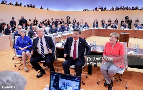 German Chancellor Angela Merkel China's President Xi Jinping US President Donald Trump Britain's Prime Minister Theresa May Turkey's President Recep...