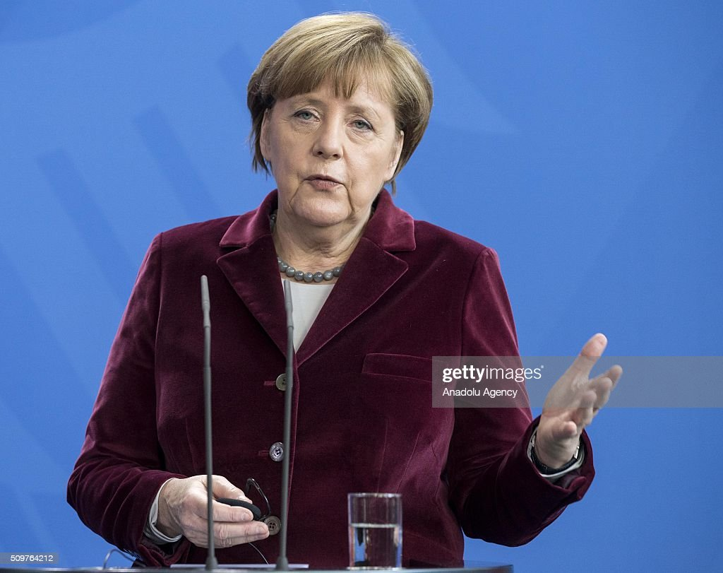 German Chancellor Angela Merkel delivers a speech during a joint press conference after their meeting at German Chancellery in Berlin, Germany on February 12, 2016.