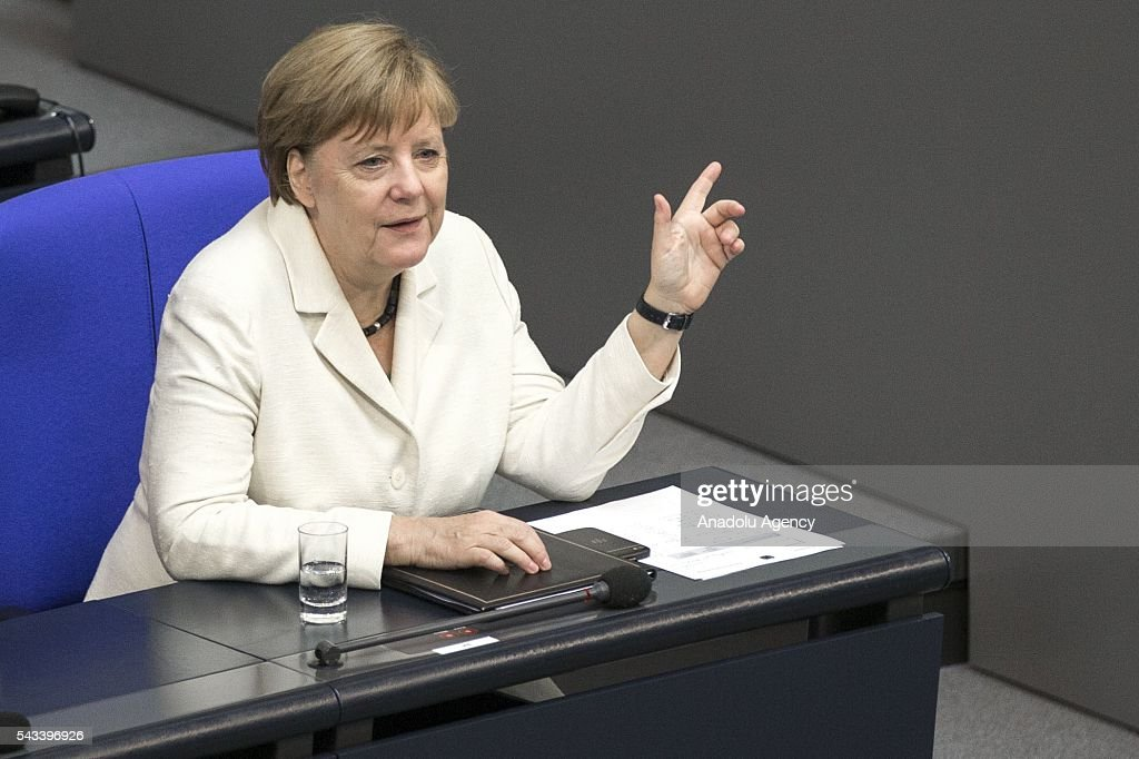 German Chancellor Angela Merkel delivers a speech during a meeting on the results of the United Kingdom's EU Referendum at the German Federal Parliament (Bundestag) in Berlin, Germany on June 28, 2016.