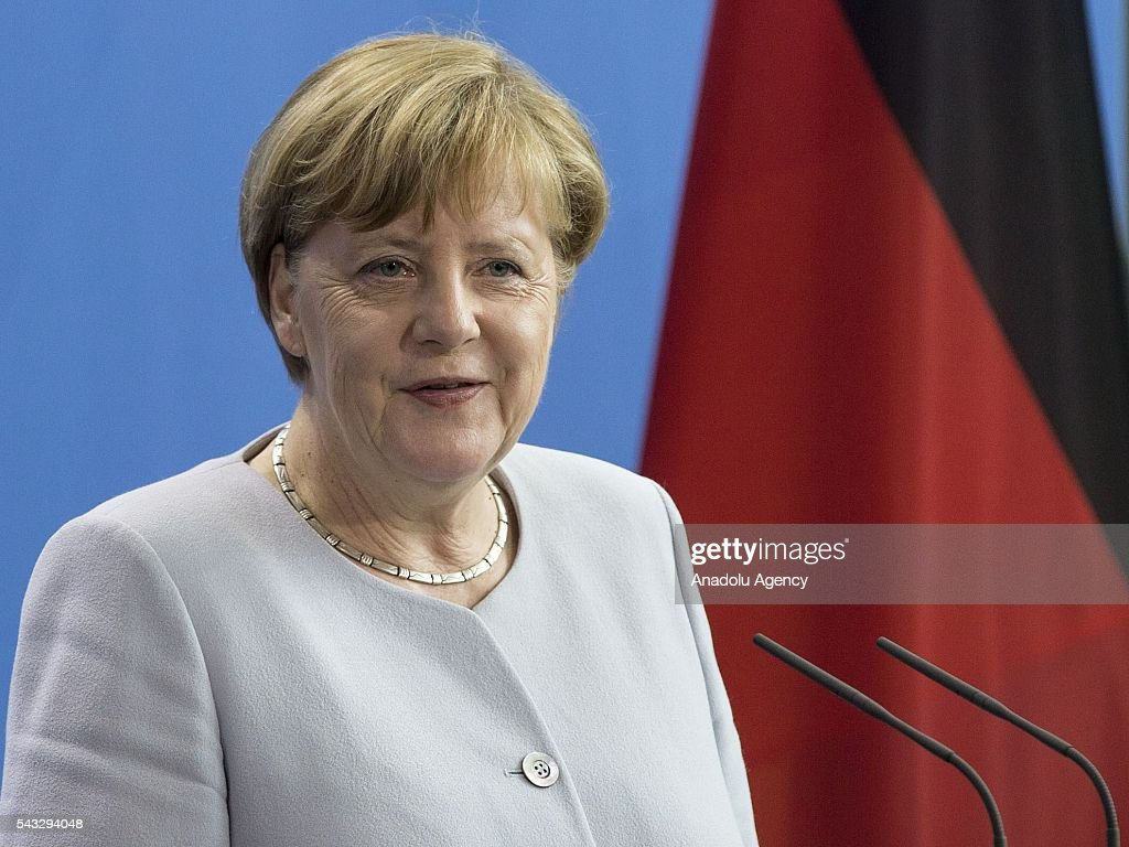 German Chancellor Angela Merkel delivers a speech during a press conference after her meeting with Prime Minister of Ukraine Volodymyr Groysman (not seen) at the Prime Minister's office in Berlin, Germany on June 27, 2016.