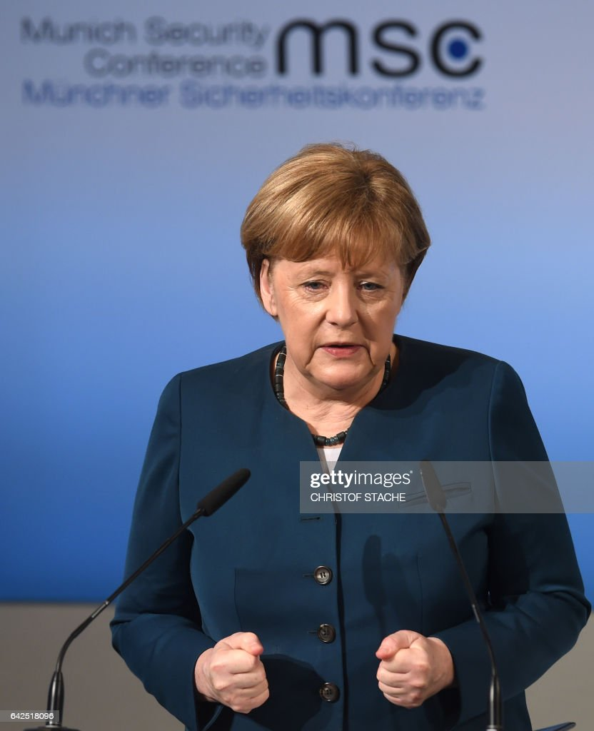 German Chancellor Angela Merkel delivers a speech on the 2nd day of the 53rd Munich Security Conference (MCS) in Munich, southern Germany, on February 18, 2017. / AFP / Christof STACHE