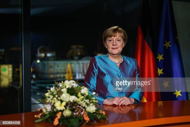 German Chancellor Angela Merkel delivers her New Year's Speech on December 30 2016 in Berlin Germany