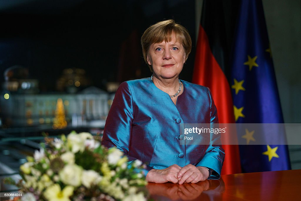 German Chancellor Angela Merkel delivers her New Year's Speech on December 30, 2016 in Berlin, Germany.