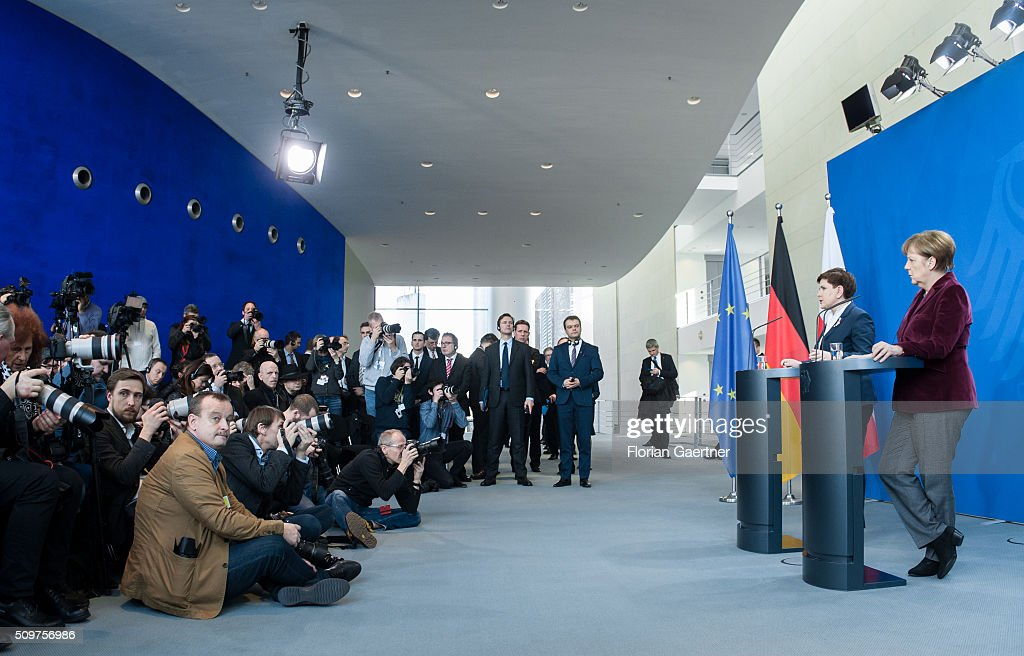 German Chancellor Angela Merkel during a press conference with Beata Szydlo, Prime Minister of Poland on February 12, 2016 in Berlin.