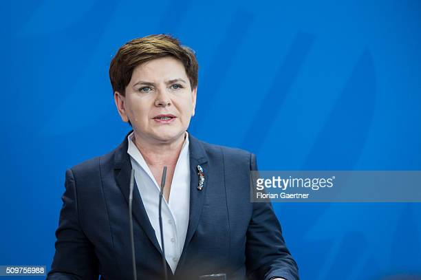German Chancellor Angela Merkel during a press conference with Beata Szydlo Prime Minister of Poland on February 12 2016 in Berlin