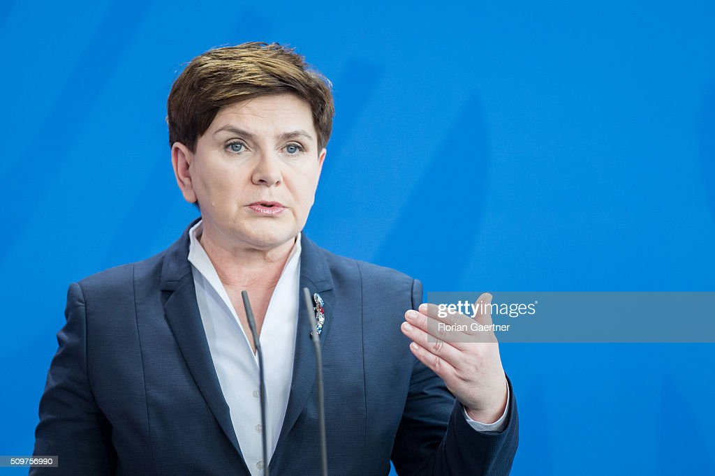 German Chancellor Angela Merkel (not pictured) during a press conference with Beata Szydlo, Prime Minister of Poland on February 12, 2016 in Berlin.