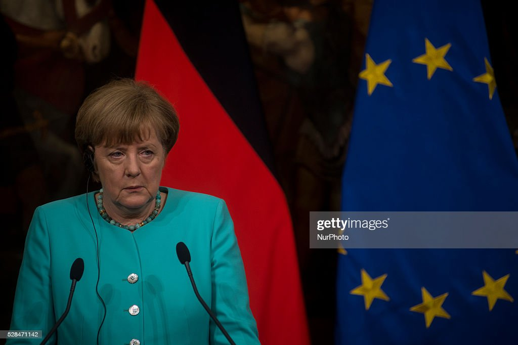 German Chancellor <a gi-track='captionPersonalityLinkClicked' href=/galleries/search?phrase=Angela+Merkel&family=editorial&specificpeople=202161 ng-click='$event.stopPropagation()'>Angela Merkel</a> during a press conference with Italian Prime Minister Matteo Renzi after their meeting in Rome's Palazzo Chigi on May 5, 2016.