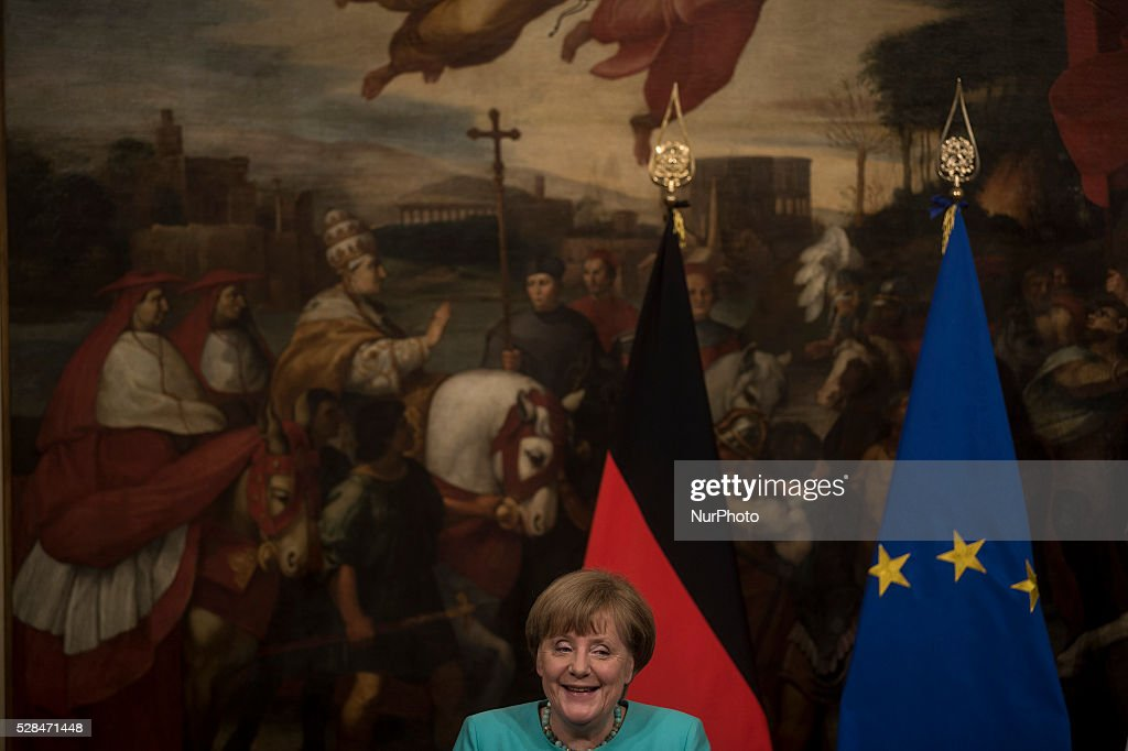 German Chancellor Angela Merkel during a press conference with Italian Prime Minister Matteo Renzi after their meeting in Rome's Palazzo Chigi on May 5, 2016.