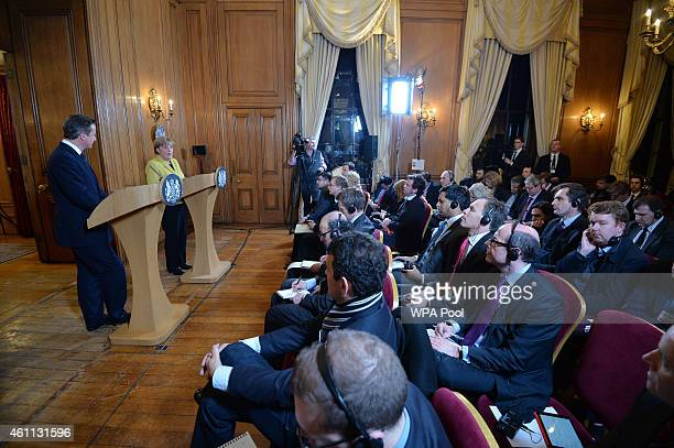 German Chancellor Angela Merkel during the joint press conference with British Prime Minister David Cameron inside 10 Downing Street on January 7...