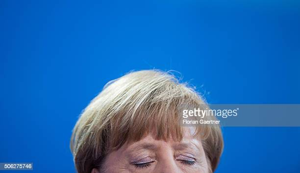 German Chancellor Angela Merkel during the press conference with the Turkish Prime Minister Ahmet Davutoglu at GermanTurkish Government Consultations...