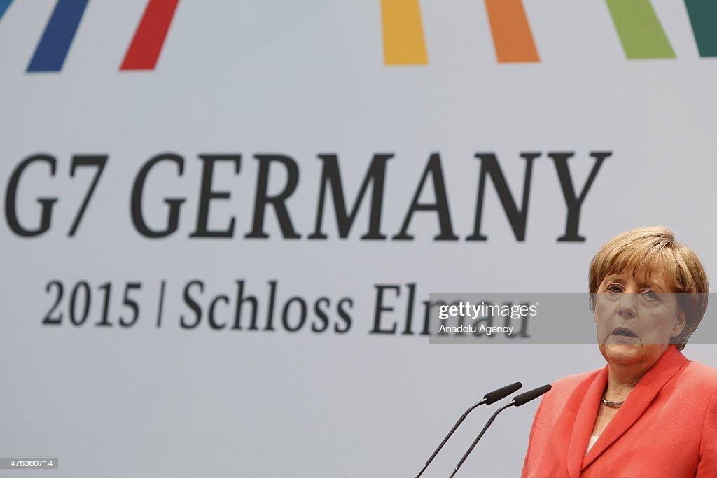 German Chancellor Angela Merkel during the summit of G7 nations at Schloss Elmau press conference on June 8, 2015 near Garmisch-Partenkirchen, Germany.