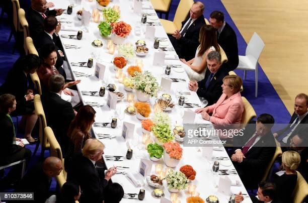 German Chancellor Angela Merkel flanked by Russia's President Vladimir Putin US First Lady Melania Trump Argentinia's President Mauricio Macri and...