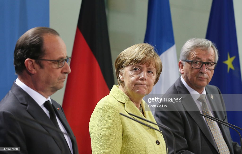 German Chancellor <a gi-track='captionPersonalityLinkClicked' href=/galleries/search?phrase=Angela+Merkel&family=editorial&specificpeople=202161 ng-click='$event.stopPropagation()'>Angela Merkel</a>, French President Francois Hollande (L) and European Union Commission President <a gi-track='captionPersonalityLinkClicked' href=/galleries/search?phrase=Jean-Claude+Juncker&family=editorial&specificpeople=207032 ng-click='$event.stopPropagation()'>Jean-Claude Juncker</a> give statements to the media prior to talks at the Chancellery on June 1, 2015 in Berlin, Germany. The three leaders are meeting to discuss European digital initiatives as well as the ongoing Greek financial crisis that has become more urgent as a possible bankruptcy by Greece is looming.
