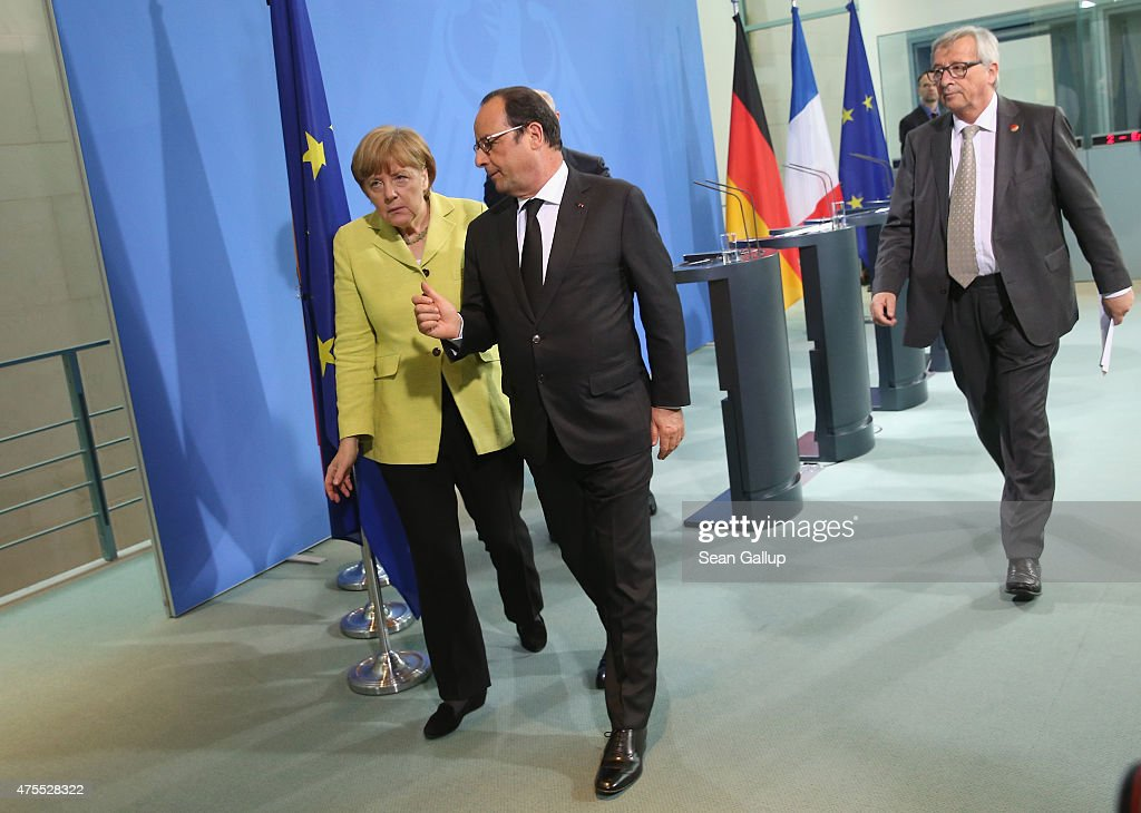 German Chancellor <a gi-track='captionPersonalityLinkClicked' href=/galleries/search?phrase=Angela+Merkel&family=editorial&specificpeople=202161 ng-click='$event.stopPropagation()'>Angela Merkel</a>, French President Francois Hollande (L) and European Union Commission President <a gi-track='captionPersonalityLinkClicked' href=/galleries/search?phrase=Jean-Claude+Juncker&family=editorial&specificpeople=207032 ng-click='$event.stopPropagation()'>Jean-Claude Juncker</a> depart after giving statements to the media prior to talks at the Chancellery on June 1, 2015 in Berlin, Germany. The three leaders are meeting to discuss European digital initiatives as well as the ongoing Greek financial crisis that has become more urgent as a possible bankruptcy by Greece is looming.