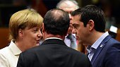 German Chancellor Angela Merkel French President Francois Hollande and Greek Prime Minister Alexis Tsipras confer prior to the start of a summit of...