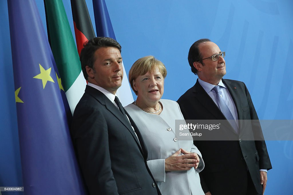German Chancellor <a gi-track='captionPersonalityLinkClicked' href=/galleries/search?phrase=Angela+Merkel&family=editorial&specificpeople=202161 ng-click='$event.stopPropagation()'>Angela Merkel</a>, French President Francois Hollande (R) and Italian Prime Minister <a gi-track='captionPersonalityLinkClicked' href=/galleries/search?phrase=Matteo+Renzi&family=editorial&specificpeople=6689301 ng-click='$event.stopPropagation()'>Matteo Renzi</a> prepare to depart after speaking to the media during talks at the Chancellery on June 27, 2016 in Berlin, Germany. The three leaders are meeting to discuss the consequences of last week's Brexit vote, in which a slim majority of voters in the United Kingdom voted for leaving the European Union, ahead of tomorrow's summit on the matter in Brussels.