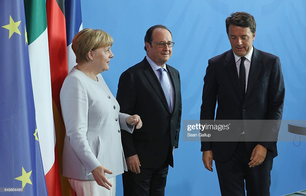 German Chancellor <a gi-track='captionPersonalityLinkClicked' href=/galleries/search?phrase=Angela+Merkel&family=editorial&specificpeople=202161 ng-click='$event.stopPropagation()'>Angela Merkel</a>, French President Francois Hollande and Italian Prime Minister <a gi-track='captionPersonalityLinkClicked' href=/galleries/search?phrase=Matteo+Renzi&family=editorial&specificpeople=6689301 ng-click='$event.stopPropagation()'>Matteo Renzi</a> (R) depart after speaking to the media during talks at the Chancellery on June 27, 2016 in Berlin, Germany. The three leaders are meeting to discuss the consequences of last week's Brexit vote, in which a slim majority of voters in the United Kingdom voted for leaving the European Union, ahead of tomorrow's summit on the matter in Brussels.