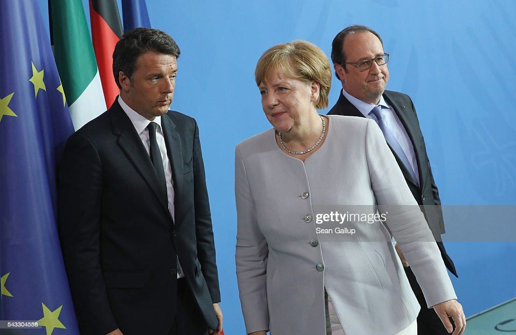German Chancellor <a gi-track='captionPersonalityLinkClicked' href=/galleries/search?phrase=Angela+Merkel&family=editorial&specificpeople=202161 ng-click='$event.stopPropagation()'>Angela Merkel</a>, French President Francois Hollande (R) and Italian Prime Minister <a gi-track='captionPersonalityLinkClicked' href=/galleries/search?phrase=Matteo+Renzi&family=editorial&specificpeople=6689301 ng-click='$event.stopPropagation()'>Matteo Renzi</a> depart after speaking to the media during talks at the Chancellery on June 27, 2016 in Berlin, Germany. The three leaders are meeting to discuss the consequences of last week's Brexit vote, in which a slim majority of voters in the United Kingdom voted for leaving the European Union, ahead of tomorrow's summit on the matter in Brussels.