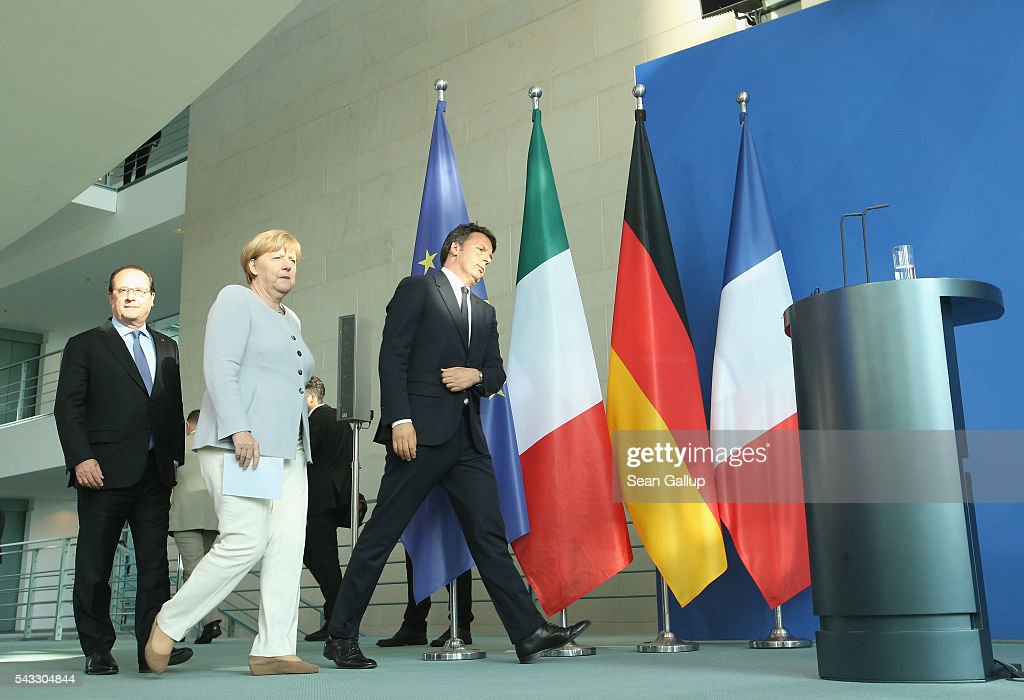 German Chancellor <a gi-track='captionPersonalityLinkClicked' href=/galleries/search?phrase=Angela+Merkel&family=editorial&specificpeople=202161 ng-click='$event.stopPropagation()'>Angela Merkel</a>, French President Francois Hollande (L) and Italian Prime Minister <a gi-track='captionPersonalityLinkClicked' href=/galleries/search?phrase=Matteo+Renzi&family=editorial&specificpeople=6689301 ng-click='$event.stopPropagation()'>Matteo Renzi</a> arrive to speak to the media during talks at the Chancellery on June 27, 2016 in Berlin, Germany. The three leaders are meeting to discuss the consequences of last week's Brexit vote, in which a slim majority of voters in the United Kingdom voted for leaving the European Union, ahead of tomorrow's summit on the matter in Brussels.