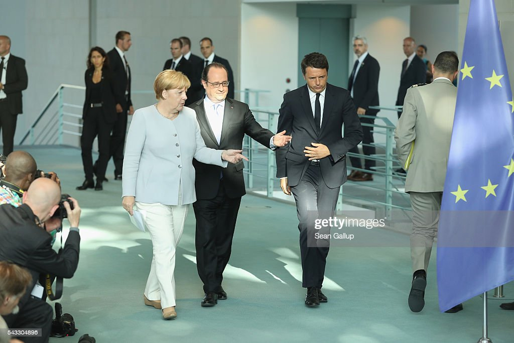 German Chancellor <a gi-track='captionPersonalityLinkClicked' href=/galleries/search?phrase=Angela+Merkel&family=editorial&specificpeople=202161 ng-click='$event.stopPropagation()'>Angela Merkel</a>, French President Francois Hollande (C) and Italian Prime Minister <a gi-track='captionPersonalityLinkClicked' href=/galleries/search?phrase=Matteo+Renzi&family=editorial&specificpeople=6689301 ng-click='$event.stopPropagation()'>Matteo Renzi</a> arrive to speak to the media during talks at the Chancellery on June 27, 2016 in Berlin, Germany. The three leaders are meeting to discuss the consequences of last week's Brexit vote, in which a slim majority of voters in the United Kingdom voted for leaving the European Union, ahead of tomorrow's summit on the matter in Brussels.