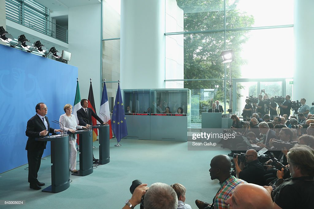 German Chancellor <a gi-track='captionPersonalityLinkClicked' href=/galleries/search?phrase=Angela+Merkel&family=editorial&specificpeople=202161 ng-click='$event.stopPropagation()'>Angela Merkel</a>, French President Francois Hollande (L) and Italian Prime Minister <a gi-track='captionPersonalityLinkClicked' href=/galleries/search?phrase=Matteo+Renzi&family=editorial&specificpeople=6689301 ng-click='$event.stopPropagation()'>Matteo Renzi</a> speak to the media during talks at the Chancellery on June 27, 2016 in Berlin, Germany. The three leaders are meeting to discuss the consequences of last week's Brexit vote, in which a slim majority of voters in the United Kingdom voted for leaving the European Union, ahead of tomorrow's summit on the matter in Brussels.