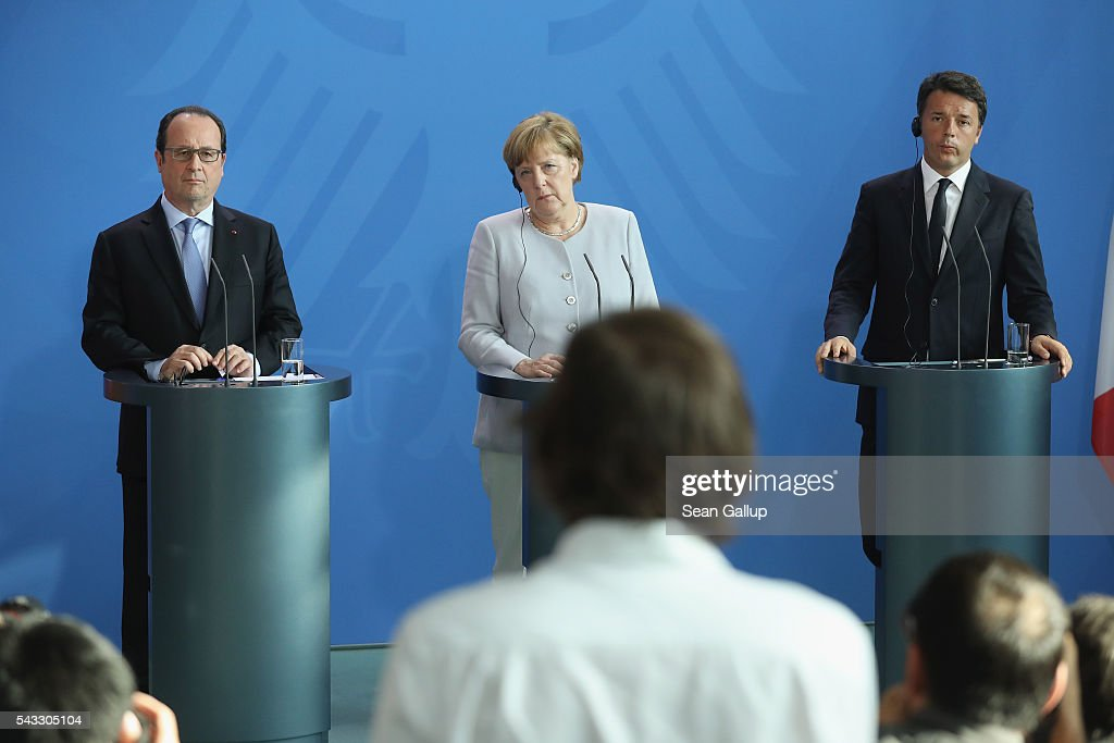 German Chancellor <a gi-track='captionPersonalityLinkClicked' href=/galleries/search?phrase=Angela+Merkel&family=editorial&specificpeople=202161 ng-click='$event.stopPropagation()'>Angela Merkel</a>, French President Francois Hollande (L) and Italian Prime Minister <a gi-track='captionPersonalityLinkClicked' href=/galleries/search?phrase=Matteo+Renzi&family=editorial&specificpeople=6689301 ng-click='$event.stopPropagation()'>Matteo Renzi</a> listen to a reporter's question while speaking to the media during talks at the Chancellery on June 27, 2016 in Berlin, Germany. The three leaders are meeting to discuss the consequences of last week's Brexit vote, in which a slim majority of voters in the United Kingdom voted for leaving the European Union, ahead of tomorrow's summit on the matter in Brussels.