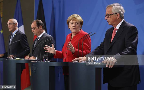 German Chancellor Angela Merkel French President Francois Hollande European Commission President JeanClaude Juncker and European Round Table of...