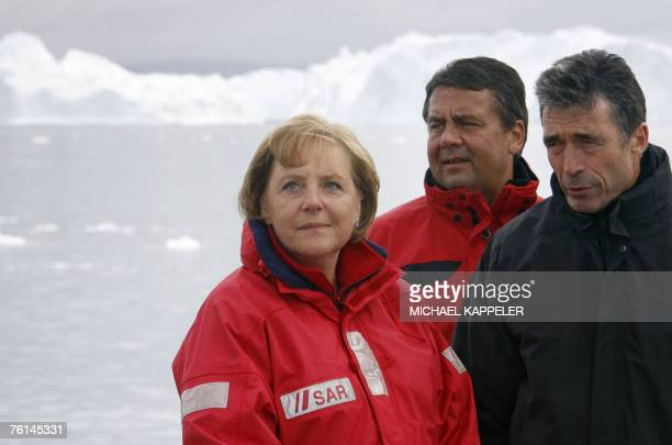 German Chancellor Angela Merkel German Environment Minister Sigmar Gabriel and Denmark's Prime Minister Anders Fogh Rasmussen are pictured onboard a...