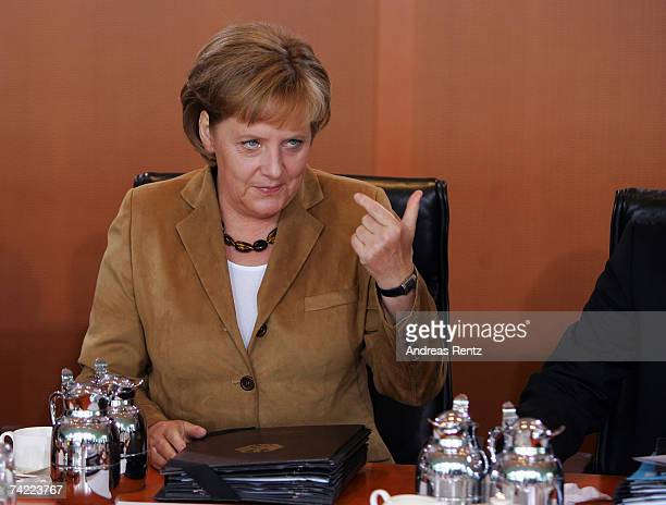 German Chancellor Angela Merkel gestures during the weekly German cabinet meeting on May 23 2007 in Berlin Germany One of the topics on the agenda is...
