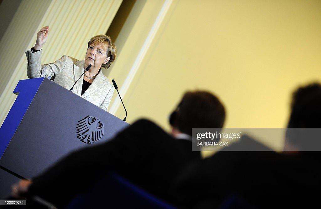 German Chancellor Angela Merkel gives a speech during a conference on financial regulation on May 20, 2010 at the Finance Ministry in Berlin. Merkel said she would lead a campaign for a tax on financial markets at the next meeting of the Group of 20 developed economies in June 2010 and called for international support.