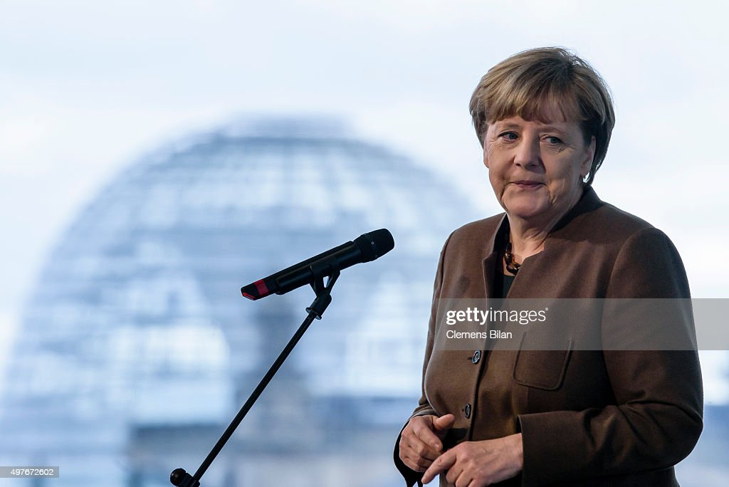 German Chancellor Angela Merkel gives a statement to the media at the Chancellery the day after Germany vs Netherlands football match in Hanover was...