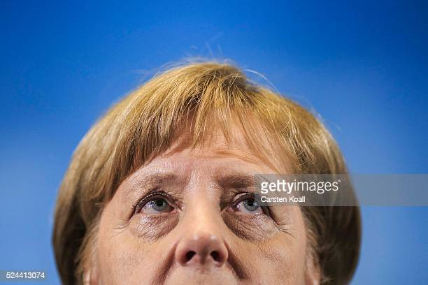 German Chancellor Angela Merkel gives a statement to the press after avisit at the GTAZ antiterror center on April 26 2016 in Berlin Germany The GTAZ...