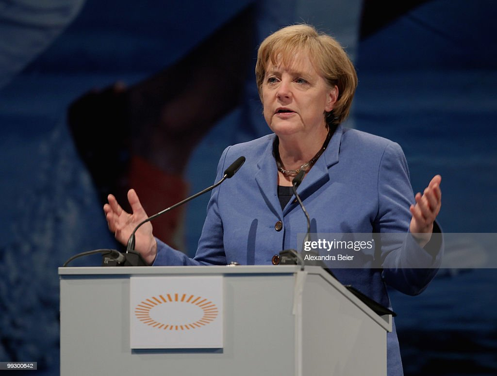 German chancellor <a gi-track='captionPersonalityLinkClicked' href=/galleries/search?phrase=Angela+Merkel&family=editorial&specificpeople=202161 ng-click='$event.stopPropagation()'>Angela Merkel</a> gives her speech during the third day of the 2nd ecumenical Kirchentag on May 14, 2010 in Munich, Germany.