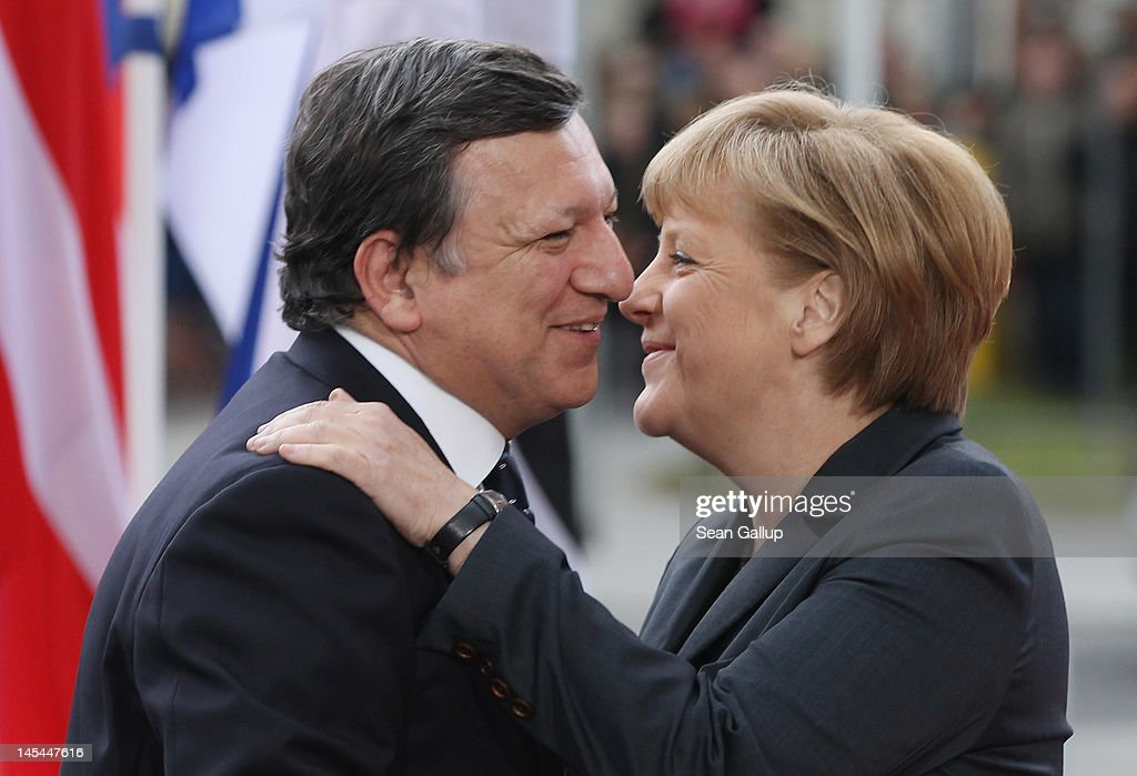 German Chancellor <a gi-track='captionPersonalityLinkClicked' href=/galleries/search?phrase=Angela+Merkel&family=editorial&specificpeople=202161 ng-click='$event.stopPropagation()'>Angela Merkel</a> (R) greets European Commission President <a gi-track='captionPersonalityLinkClicked' href=/galleries/search?phrase=Jose+Manuel+Barroso&family=editorial&specificpeople=551196 ng-click='$event.stopPropagation()'>Jose Manuel Barroso</a> at the 2012 Council of Baltic Sea States Summit on May 30, 2012 in Stralsund, Germany. Leaders of the eleven member states as well as representatives of the European Union are meeting to discuss matters related to energy, the environment and economic development during the two-day summit.