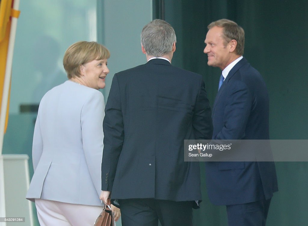 German Chancellor <a gi-track='captionPersonalityLinkClicked' href=/galleries/search?phrase=Angela+Merkel&family=editorial&specificpeople=202161 ng-click='$event.stopPropagation()'>Angela Merkel</a> greets European Council President <a gi-track='captionPersonalityLinkClicked' href=/galleries/search?phrase=Donald+Tusk&family=editorial&specificpeople=870281 ng-click='$event.stopPropagation()'>Donald Tusk</a> (R) upon his arrival four days after the Brexit vote was confirmed in the United Kingdom at the Chancellery on June 27, 2016 in Berlin, Germany. Merkel is scheduled to receive French President Francois Hollande, Italian Prime Minister Matteo Renzi and European Council President <a gi-track='captionPersonalityLinkClicked' href=/galleries/search?phrase=Donald+Tusk&family=editorial&specificpeople=870281 ng-click='$event.stopPropagation()'>Donald Tusk</a> today to discuss the consequences of last week's Brexit vote.