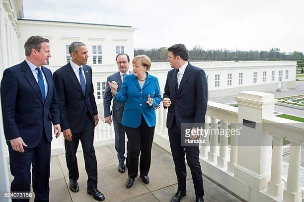 German Chancellor Angela Merkel greets France's President Francois Hollande US President Barack Obama Prime Minister of Great Britain David Cameron...