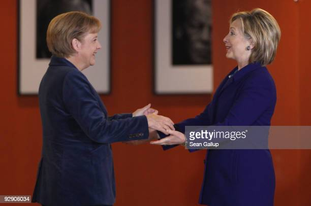 German Chancellor Angela Merkel greets US Secretary of State Hillary Clinton at the Chancellery on November 9 2009 in Berlin Germany Clinton is in...