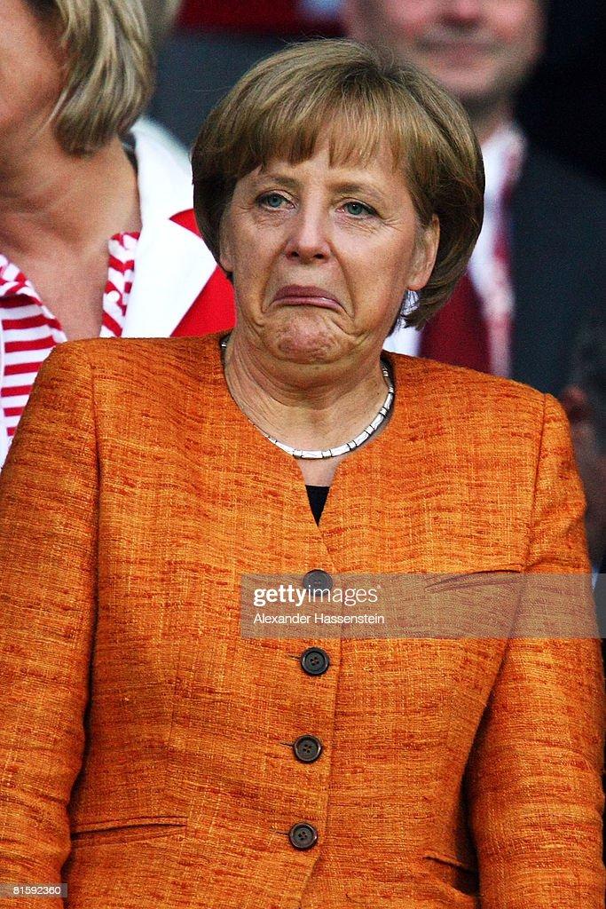 German chancellor Angela Merkel is pictured ahead of the UEFA EURO 2008 Group B match between Austria and Germany at Ernst Happel Stadion on June 16, 2008 in Vienna, Austria.