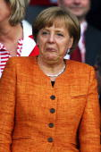 German chancellor Angela Merkel is pictured ahead of the UEFA EURO 2008 Group B match between Austria and Germany at Ernst Happel Stadion on June 16...