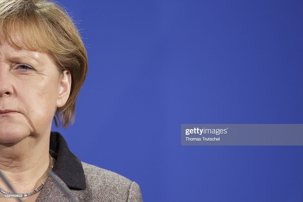 German Chancellor <a gi-track='captionPersonalityLinkClicked' href=/galleries/search?phrase=Angela+Merkel&family=editorial&specificpeople=202161 ng-click='$event.stopPropagation()'>Angela Merkel</a> is pictured during a press conference at Chancellery (Bundeskanzleramt) with Malta's Prime Minister Lawrence Gonzi (not pictured) on January 9, 2013 in Berlin, Germany.
