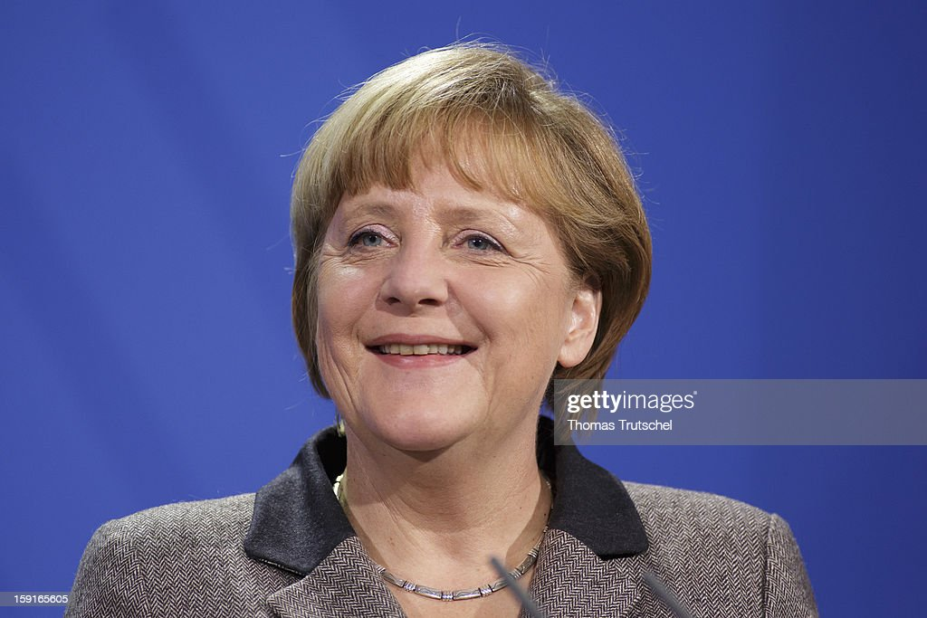 German Chancellor Angela Merkel is pictured during a press conference at Chancellery (Bundeskanzleramt) with Malta's Prime Minister Lawrence Gonzi (not pictured) on January 9, 2013 in Berlin, Germany.