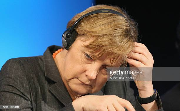 German Chancellor Angela Merkel is pictured during the annual congress of the European People's Party 30 March 2006 in Rome European Christian...