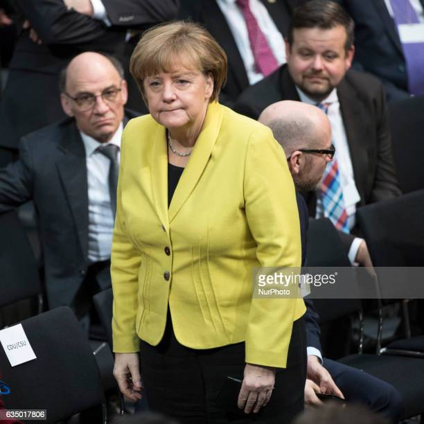 German Chancellor Angela Merkel is pictured during the Presidential election at the 16th Bundesversammlung at the Bundestag in Berlin Germany on...