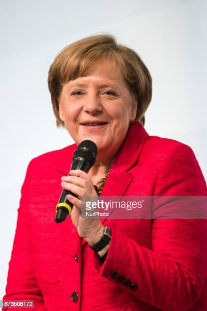 German Chancellor Angela Merkel is pictured during the Woman 20 Summit in Berlin Germany on April 25 2017 The event which is connected to the G20...