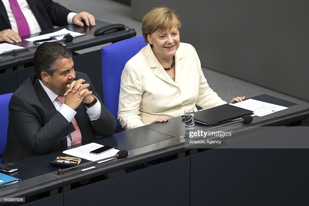 German Chancellor Angela Merkel (R) is seen during a meeting on the results of the United Kingdom's EU Referendum at the German Federal Parliament (Bundestag) in Berlin, Germany on June 28, 2016.