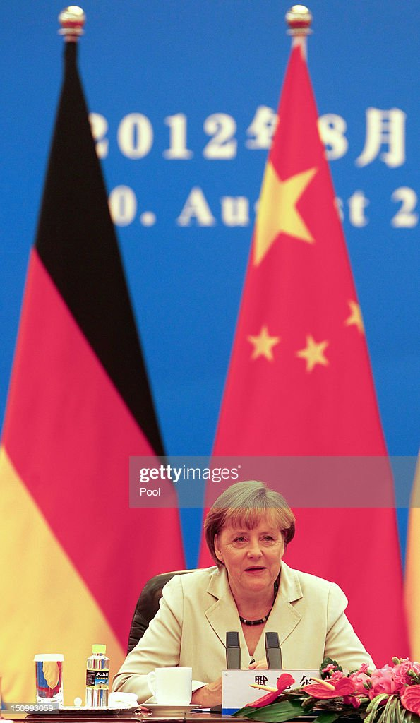 German Chancellor <a gi-track='captionPersonalityLinkClicked' href=/galleries/search?phrase=Angela+Merkel&family=editorial&specificpeople=202161 ng-click='$event.stopPropagation()'>Angela Merkel</a> is seen during bilateral talks with Chinese Premier Wen Jiabao inside the Great Hall of the People on August 30, 2012 in Beijing, China. Merkel is on a two-day official visit to China.