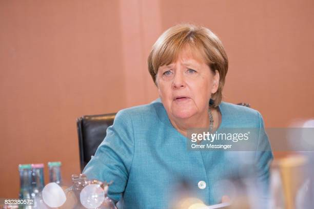 German Chancellor Angela Merkel is seen in the opening of the weekly government cabinet meeting on August 16 2017 in Berlin Germany Today is the...