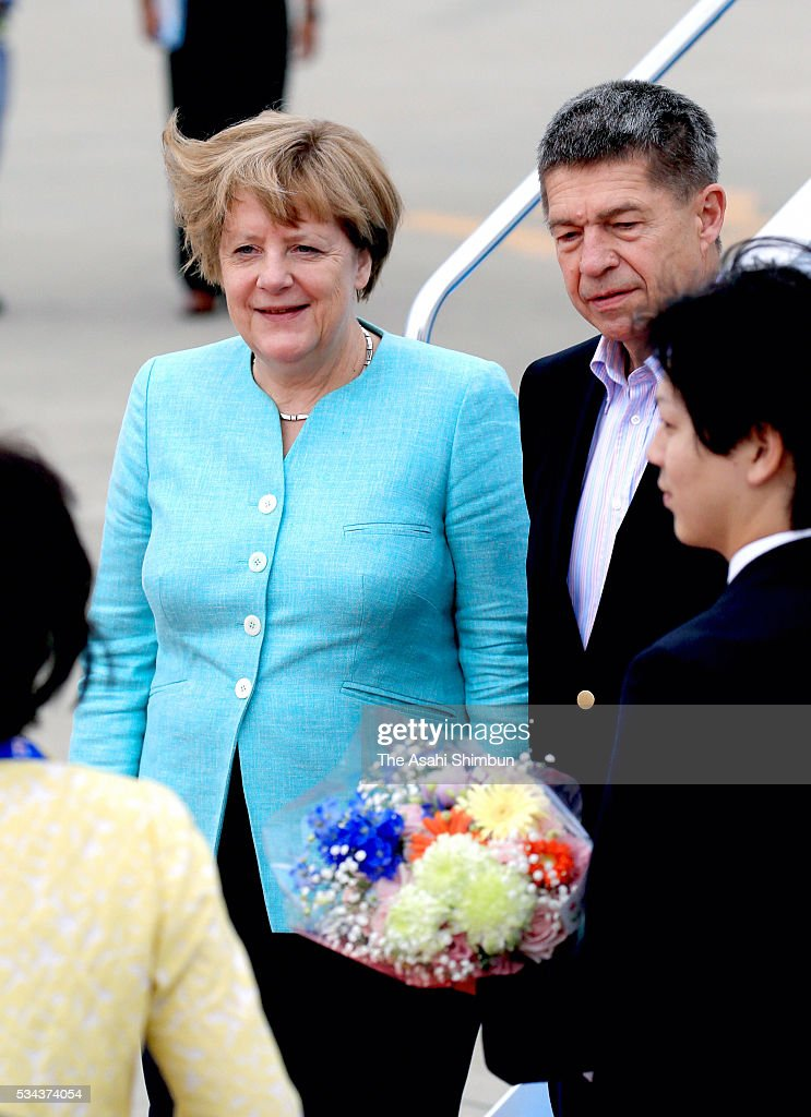 German Chancellor Angela Merkel is seen on arrival at the Centrair International Airport ahead of the Group of Seven summit on May 25 2016 in...
